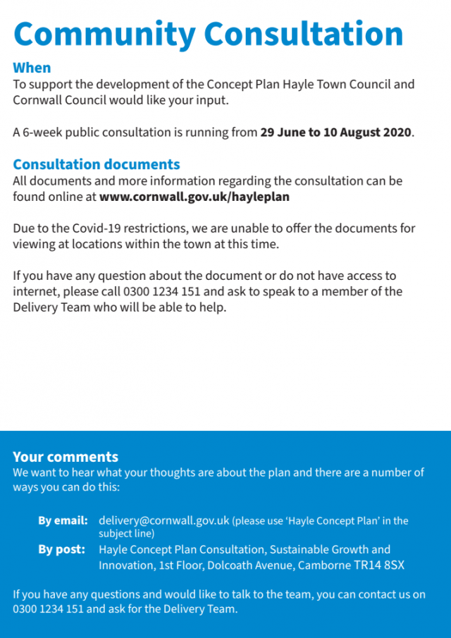 Community Consultation - A 6-week public consultation is running from 29 June to 10 August 2020   Hayle Growth Area Concept Plan