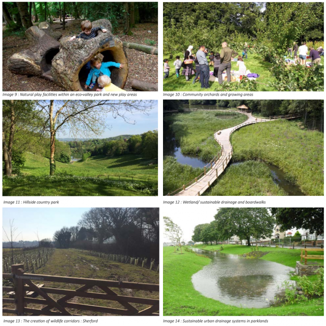 Image 9 : Natural play facilities within an eco-valley park and new play areas Image 10 : Community orchards and growing areas Image 11 : Hillside country park Image 12 : Wetland/ sustainable drainage and boardwalks Image 13 : The creation of wildlife cor